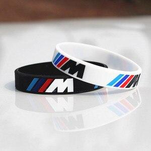 2pcs Engrave Hologram Bracelet ///M Sport M Power Black White Silicone Wristband Bangle for BMW Club Fans M3 M5 M6 3/5/7 Series(China)