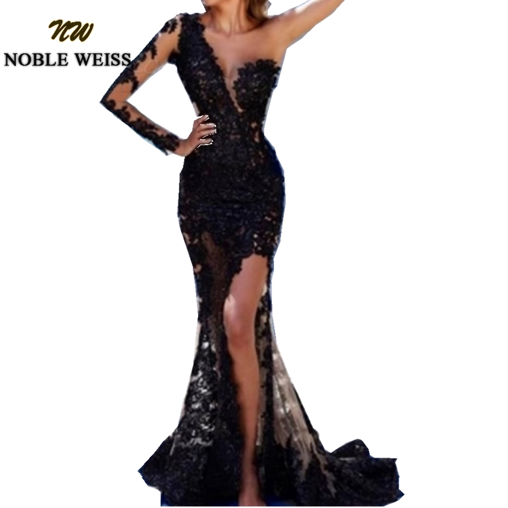 Black Evening Dresses Long Mermaid Prom Dress 2019 Long Shoulder Lace Abendkleider Arabric Dubai Formal Vestido De Festa Longo