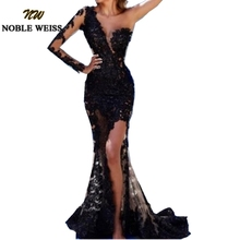 Schwarz Abendkleider Lange Meerjungfrau Prom Kleid 2019 Lange Schulter Spitze Abendkleider Arabric Dubai Formale Vestido De Festa Longo