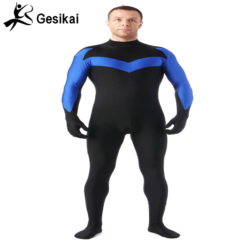 24 Hrs Shipping Out  Adult Nightwing Superhero Bodysuit Lycra Spandex Zentai Costumes Suitable for Halloween Party