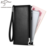 Kangaroo Kingdom Luxury Genuine Leather Men Wallet Long Business Male Brand Clutch Purse