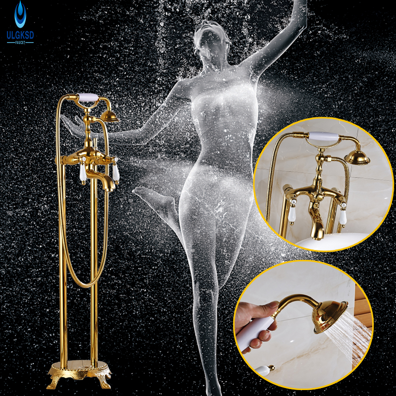 Ulgksd Luxury Golden Floor Tub Shower Faucet Solid Brass Floor Mounted Free Standing Bathtub Mixer Tap Faucet W/Hand Shower