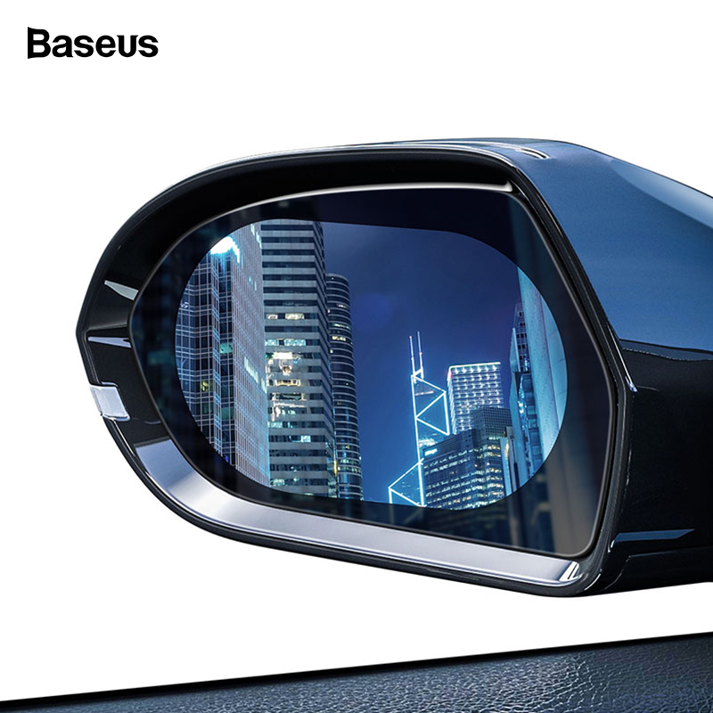 Baseus 2 Pcs Car Rearview Mirror Rainproof Film 0.15mm Clear Rear View Mirror Anti Fog Protective Films Window Foils Car Sticker