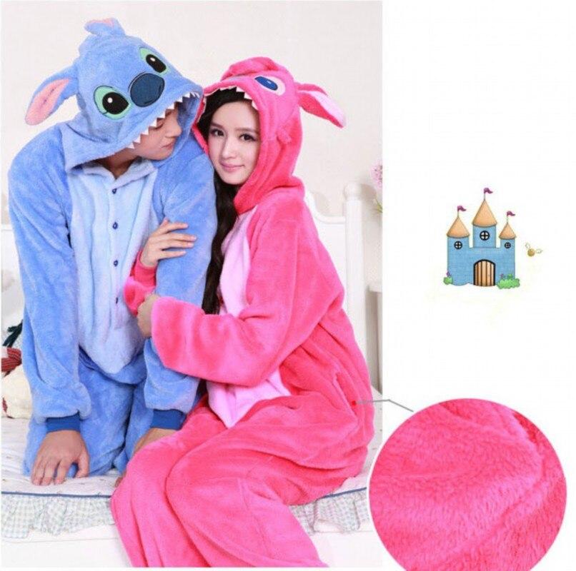 Stitch Adult Unisex Pajamas Suits Cartoon Animal Cosplay Costume Flannel Onesies Sleepwear