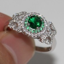 2017 Top Sell Handmade Luxury Jewelry 100% Pure 925 Sterling Silver Green 5A CZ White Zirconia Women Wedding Band Pave Ring Gift