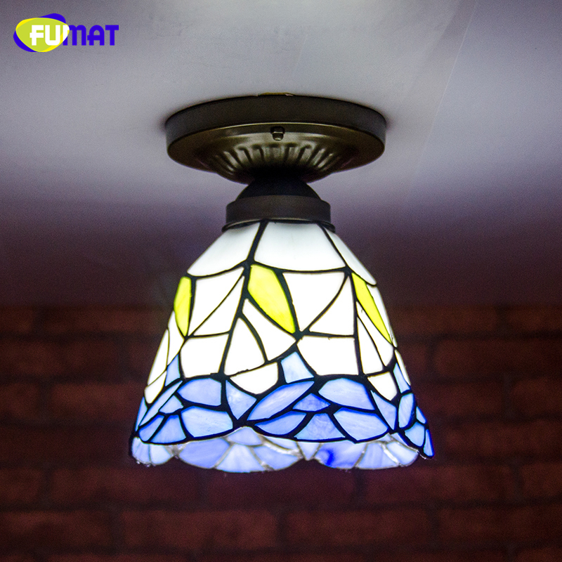 FUMAT Stained Glass Ceiling Lamp European Church Corridor Magnolia Etched  Glass Indoor Light Fixtures For Balcony Front Porch