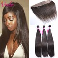 7A Indian Straight Virgin Hair With Lace Frontal Closure Pre Plucked Lace Frontal Closure With 3 Bundles 100% Indian Remy Hair