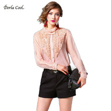 Dorla Cool Silk Blouses For Women New Sexy Petal Stand Collar 2017 Women's Blouses Pink Shirt Black with Camis Ruffle Luxury Top