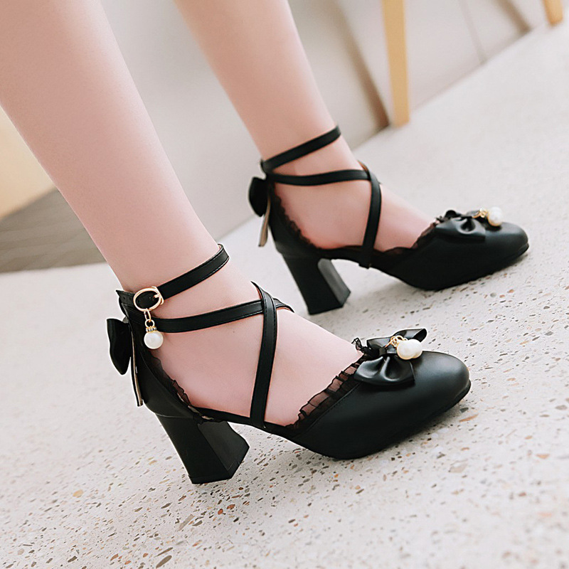 Summer Pu Leather Children Shoes Girls High-heeled Dress Shoes Bow-Knot Princess Party Shoes Lace Patchwork Baby Kids Sneakers