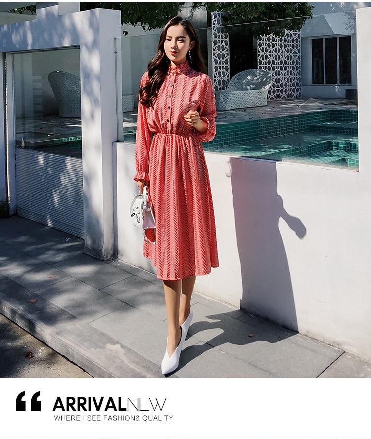 Women chiffon dress 2019 spring autumn female vintage print elegant a-line dress long sleeve loose casual office lady dress 17