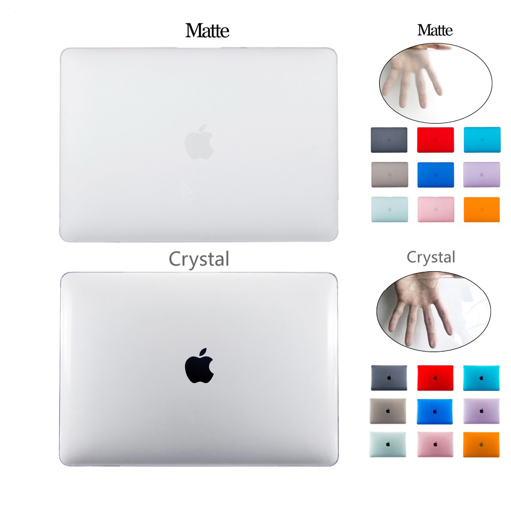 Crystal Matte Cases For Apple Macbook Air Pro Retina 11 12 13 15 Laptop Bags For Macbook New Air 13 With Touch ID A1932 Cover