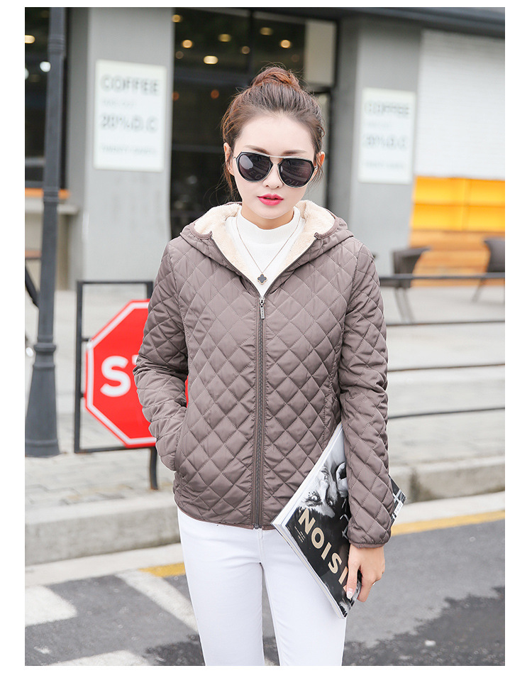 Autumn 19 New Parkas basic jackets Female Women Winter plus velvet lamb hooded Coats Cotton Winter Jacket Womens Outwear coat 26