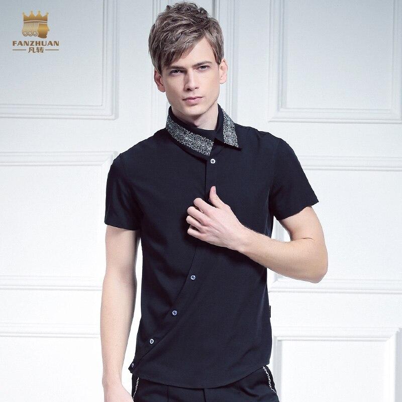 Livraison gratuite nouveau mâle mode FanZhuan hommes placket personnalité irrégulière oblique col 612066 broderie chemise à manches courtes - 5