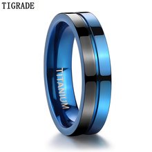 Tigrade 5mm Titanium Rings Classic Wedding For Women Mens Engagement High Polished Blue Black Jewelry
