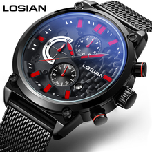 LOSIAN Men's Watches Fashion Cool Multi-function Leisure Sports Luminous Waterproof Calendar Steel Band Quartz Watch все цены