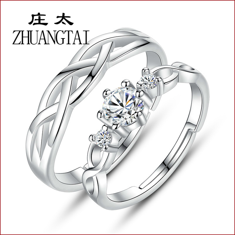 ZHUANGTAI NEW Favourite Lovers cubic zirconia solitaire Ring Korean Fashion Popular Hand Ornaments Woman alliance femme mariage