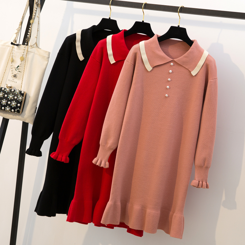 Sweaters loose 200 pounds big size fat mm 2018 new cover belly thin fat sister dress autumn