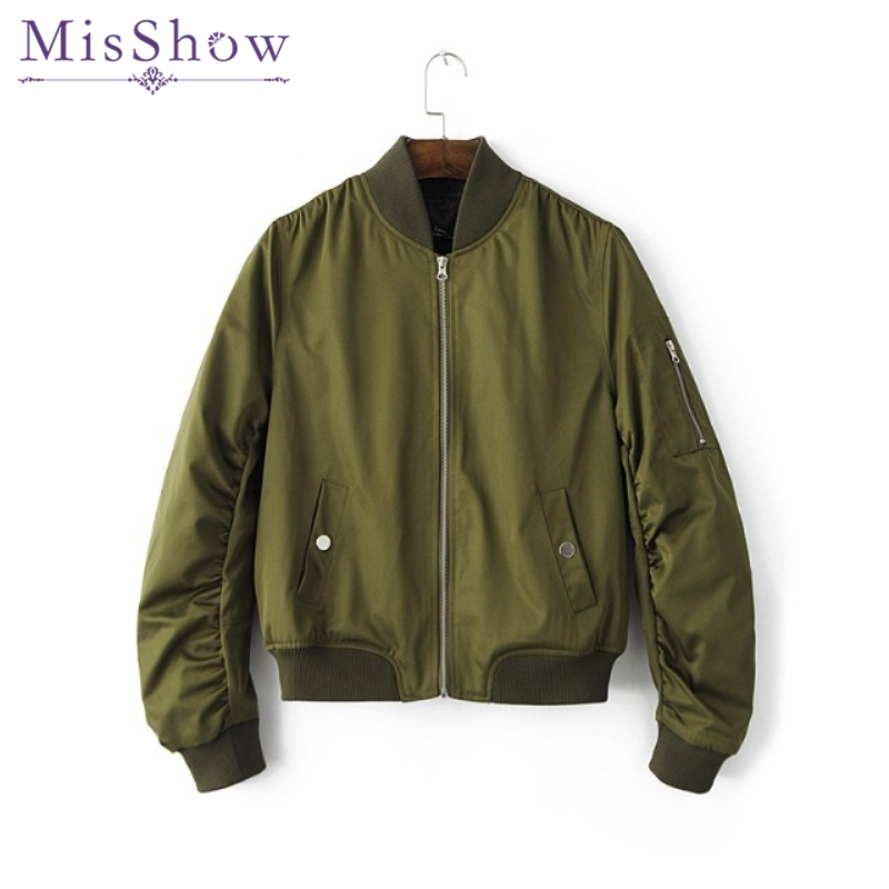 Womens Spring Autumn Casual Jackets Ladies Army Green Pocket Zipper Front Stand Collar Long Sleeve Basic Jacket Coat Outwear