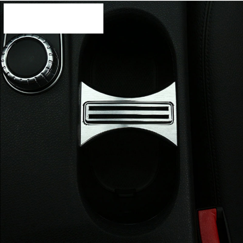 Aluminum Alloy Cup Holder Cover Frame Trim For <font><b>Mercedes</b></font> Benz CLA 200 220 260 GLA A Class <font><b>W176</b></font> C117 W117 Car Accessories image
