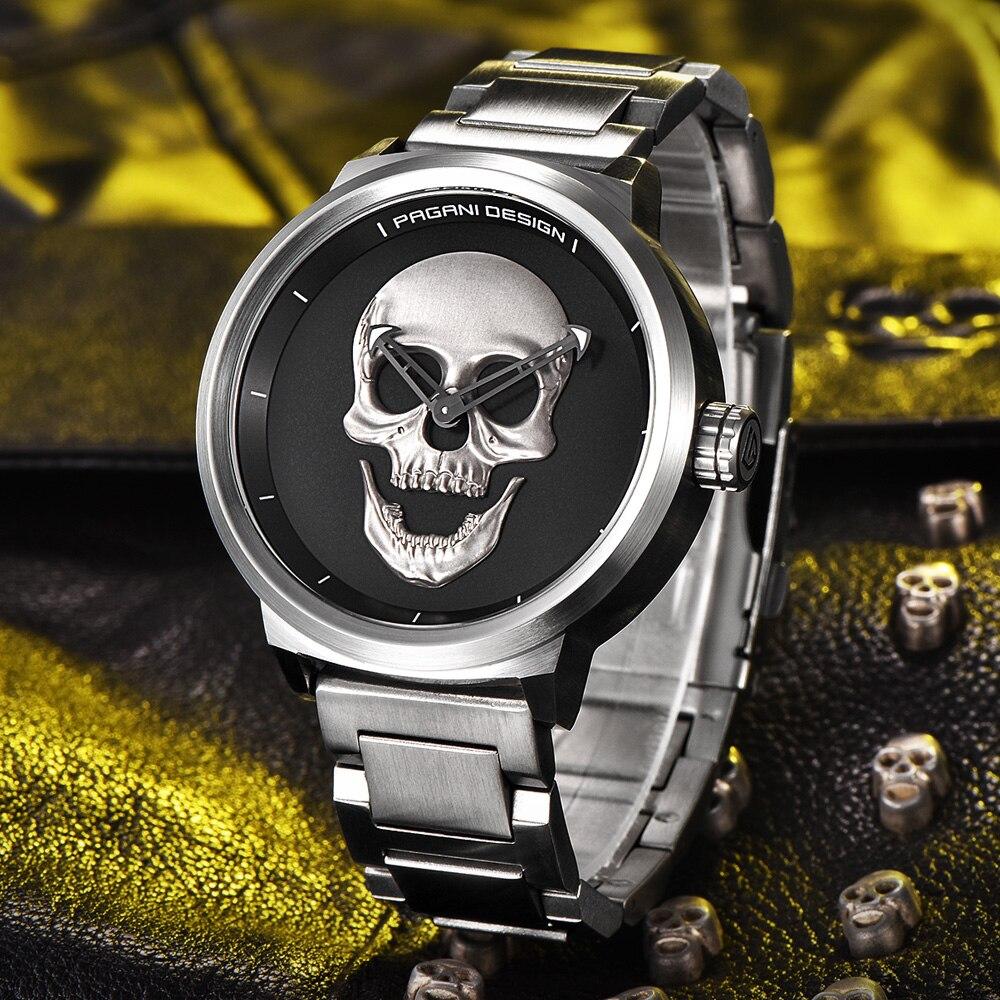 PAGANI DESIGN Punk 3D kaukolės asmenybė Retro mados verslo kvarco - Vyriški laikrodžiai - Nuotrauka 2