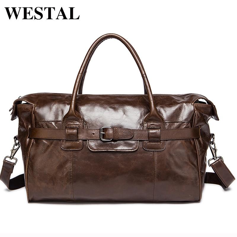 WESTAL Genuine Leather Duffle Bag Men's Multi-purse Travel Bag Luggage Duffle Bags Leather Handbags Suitcase Men Travel Bags pabojoe duffle bags 100