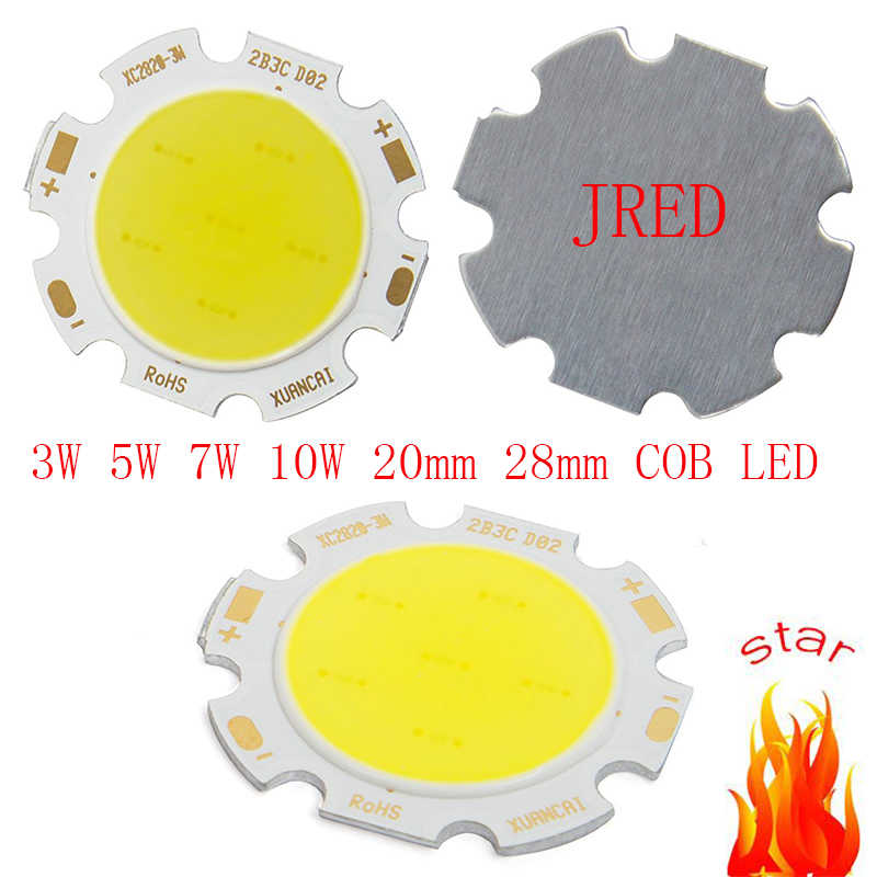 10pcs/lot Round COB 20mm 28mm PCB Super Bright 3W 5W 7W 10W Cob Led Chip Warm White/ White Led Cob Chip 20MM-PCB Freeshipping