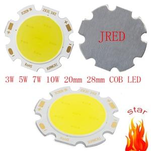 10 sztuk/partia okrągły COB 20mm 28mm PCB Super jasne 3W 5W 7W 10W Cob układ Led ciepły biały/biały Led Cob Chip 20MM-PCB darmowa wysyłka
