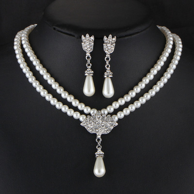 XT QU BRIDE jewelry dress acessories simulated pearl necklace and earrings jewelry for fashion women sweater chain free shipping