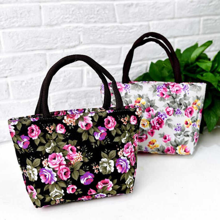 M341 2017 New Women High-capacity Summer Canvas Bag Flower Environmental Protection Shopping Bag Handbag Big Size Gift Wholesale