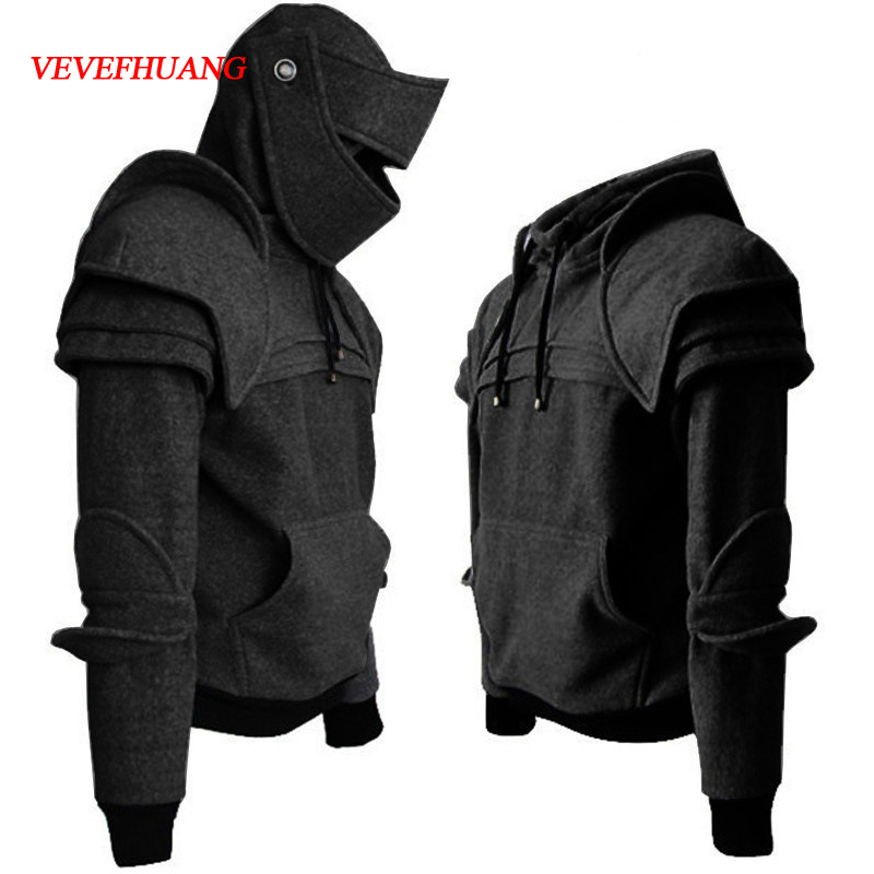 VEVEFHUANG Cosplay medieval vintage soldier knight mask knee Sweater top jacket Sweatshirt for men autumn and winter costumes