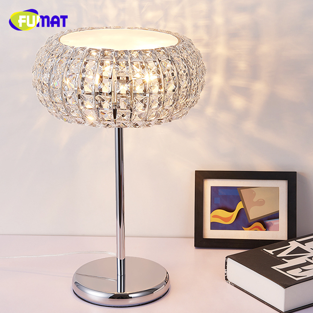 FUMAT K9 Crystal Table Lamp Modern Brief Crystal Lamp Bedside Living Room  Decorative Desk Light Creative