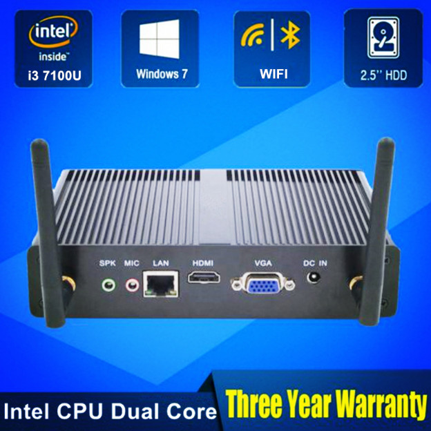 Cheapest Eglobal Mini Computer Genuine OEM Win10 Pro Intel Core I3 7100U Fanless Mini PC Barebone HTPC Minipc Nuc Graphics 620