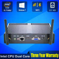 Moins cher Mini ordinateur authentique OEM Win10 Pro Intel Core i3 7100U sans ventilateur Mini PC HTPC minipc Nuc graphiques 620
