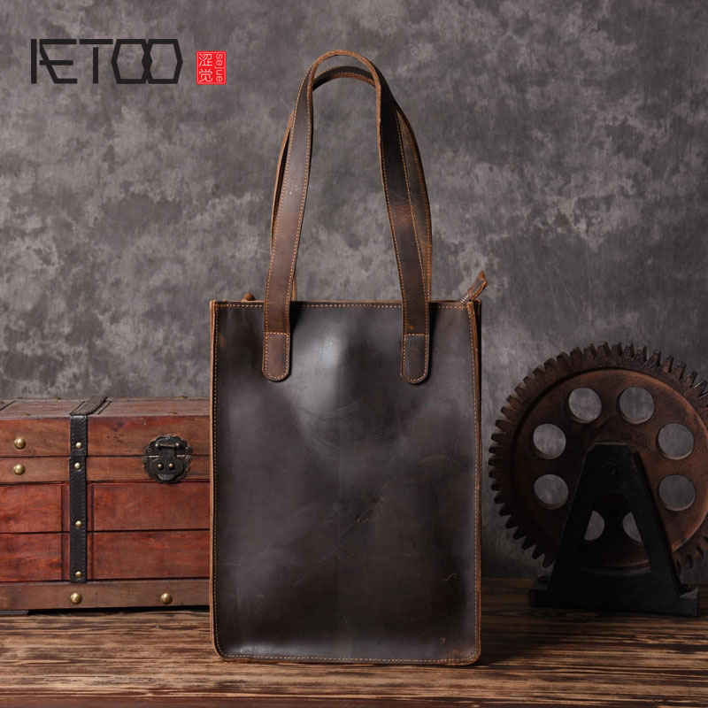 AETOO Handmade leather products European and American leather handbags shopping bags retro art men bag original design aetoo european goods art casual leather