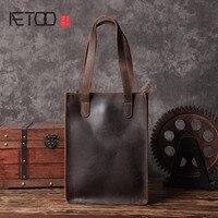 AETOO Ręcznie wyroby ze skóry Europejskie i Amerykańskie torebki skórzane torby na zakupy sztuki retro mężczyźni torba oryginalny design