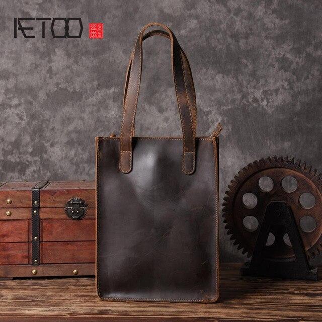AETOO produk kulit Buatan Tangan Eropa dan Amerika tas kulit tas belanja  retro art pria tas a22d725a37