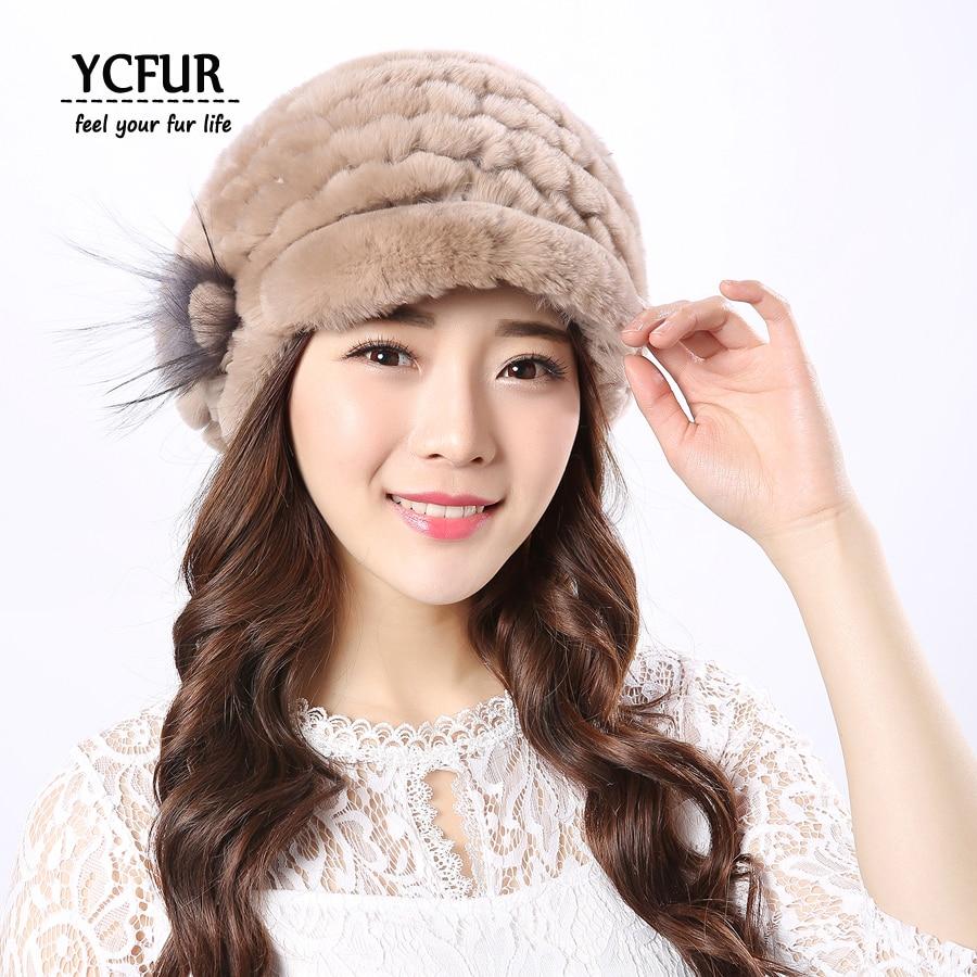 YCFUR Жіночі шапки Шапки зимові в'язати реальні Rex кролика хутряні шапки шапочки з сріблястою лисою хутром Квіткова шапка шапочка жіноча