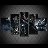 5panel Modular Paintings Movie Print Terminator Print Fabric Painting Rooms Decorated Poster Image Printed Fabric Free