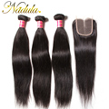 Brazilian Straight Hair With Closure 4*4 Lace Closure With Bundles Brazilian Virgin Hair With Closure Straight Brazilian Hair