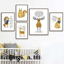 Cartoon Deer Fox Horse Squirrel Nordic Posters And Prints Wall Art Canvas Painting Nursery Pictures For Kids Room Decor