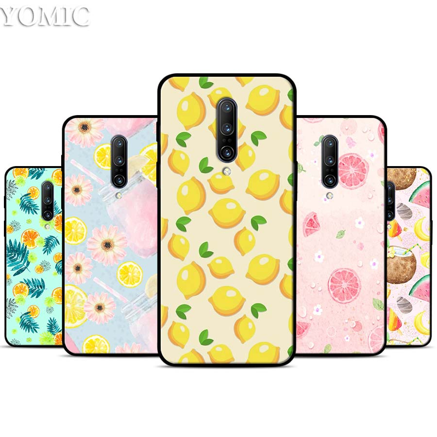 Summer fruit lemon watermelon Silicone Case for font b Oneplus b font font b 7 b