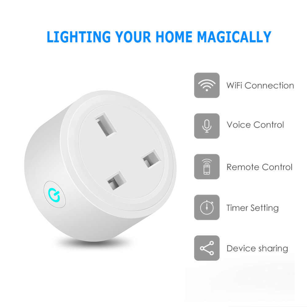 Prise intelligente US UK EU, télécommande WiFi avec Alexa, synchronisation marche/arrêt de l'alimentation, Samrt Mini prise électrique maison Google PK SONOFF