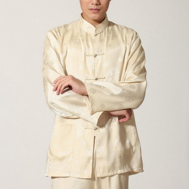Mens Chinese Dragon Printed Kung Fu Uniform Tai Chi Exercise Training Sportswear Sets Martial Arts Male Wing Chun Tracksuit Set