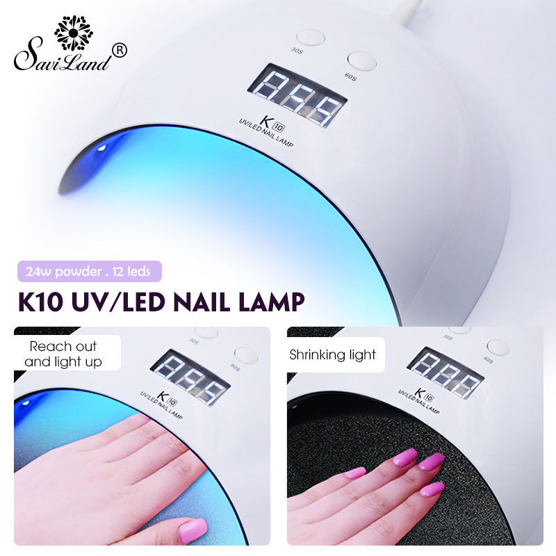 Saviland 24W Nail Dryer Dual UV LED Nail Lamp Gel Polish Curing Light with Bottom 30s/60s Timer Display Lamp for Nails Dryer ingshu 48w 24w led uv lamp nail dryer sun light for nail gel polish curing light with bottom 10s 30s 60s timer lcd display tools