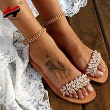 NAN JIU MOUNTAIN Summer Flat Sandals Women Fashion Rhinestone Open Toe Buckle Sandals Wedding Party Plus Size 34-43