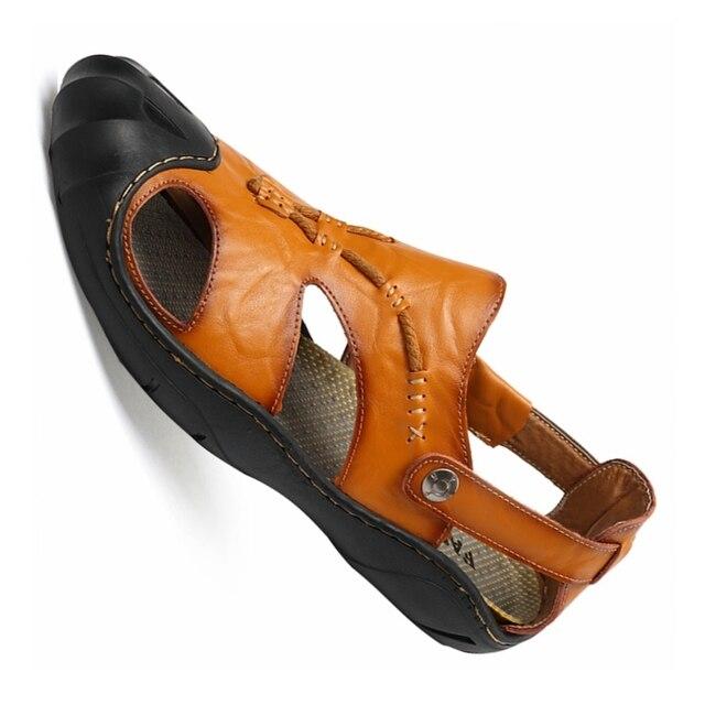 e49b4647d55 men genuine leather summer running sandals breathable outdoor beach running  shoes non-slip upstream running sneakers men