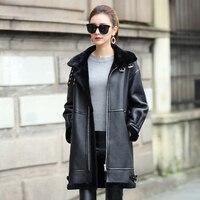Элитная Дубленки пальто для Для женщин из натуральной кожи Shearling Jacket мериносовой овчины двигателя пальто dx0008