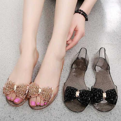 6b7047986ec2ff ... women jelly sandals Ballet Flats bow colorful crystal rhinestone  glitter peep toe jelly shoes slip- ...