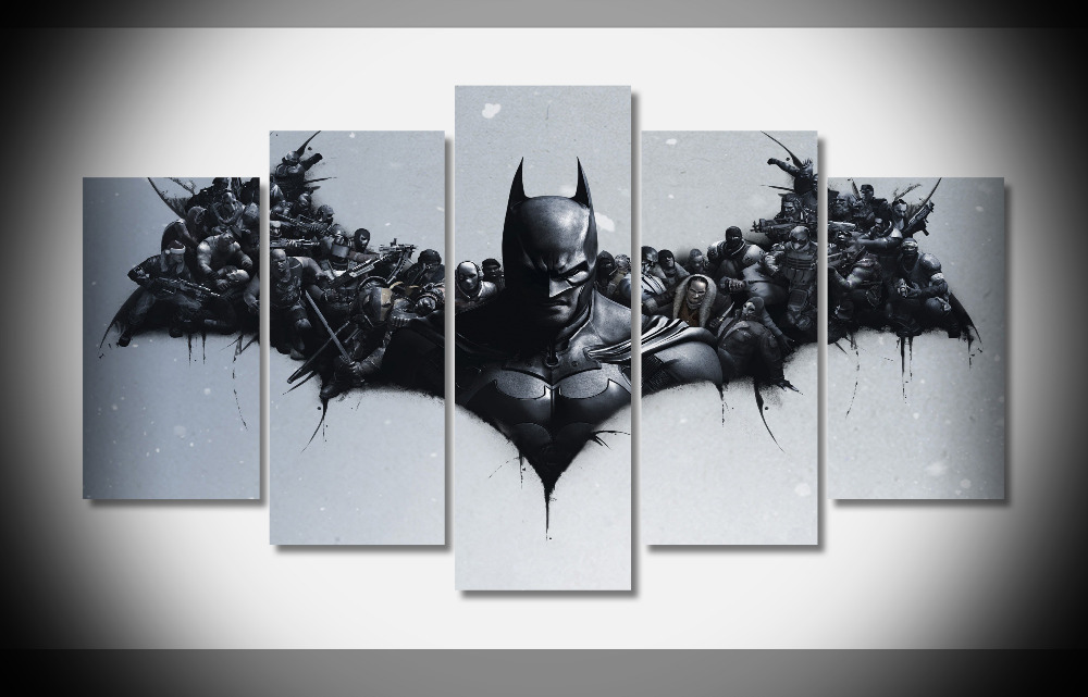 7308 Black Digital Art Batman Design Poster Wood Framed