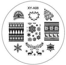 Xchristmas пластин дизайна трафаретов штамповки шаблоны изображения маникюр nail art круглый